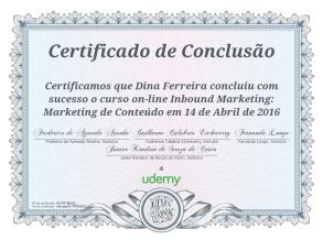 Certificado de Curso de Inbound Marketing 2016