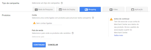 Campanha de Shopping no adwords