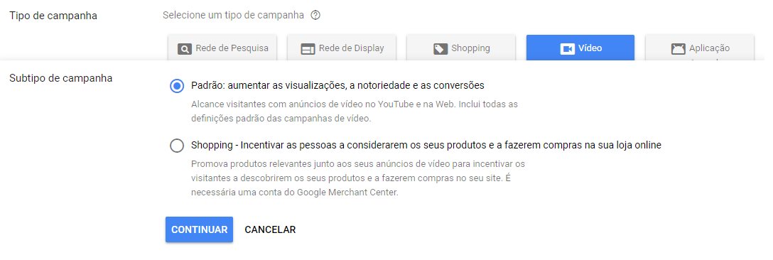 Campanhas de Video no Google adwords