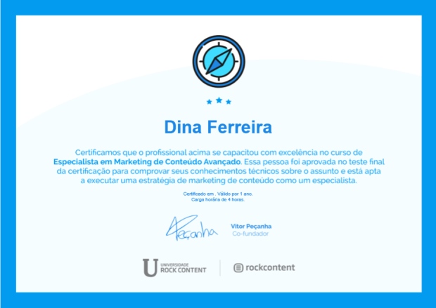 Certificado de Especialista de Marketing de Conteudo Avançado