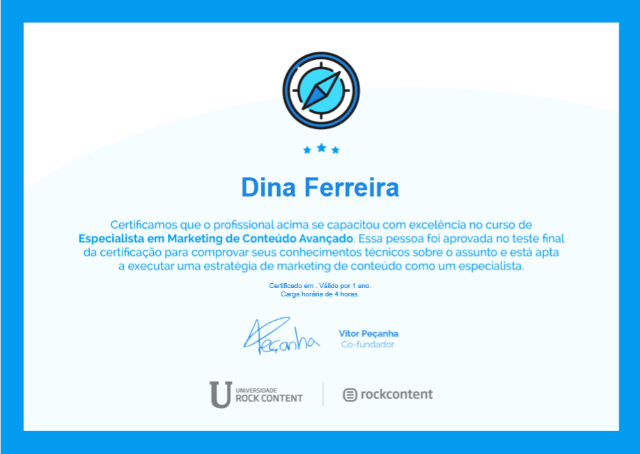 Certificado de Especialista de Marketing de Conteudo Avançado