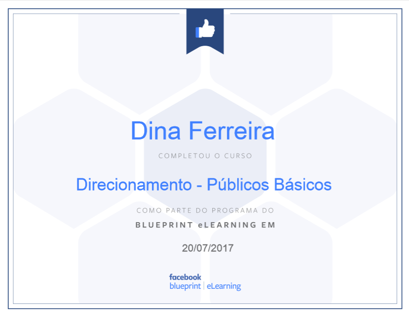 Certificado Direcionamento - Públicos Básicos Facebook
