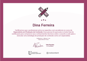 Certificado Especialista em Produção de Conteúdo