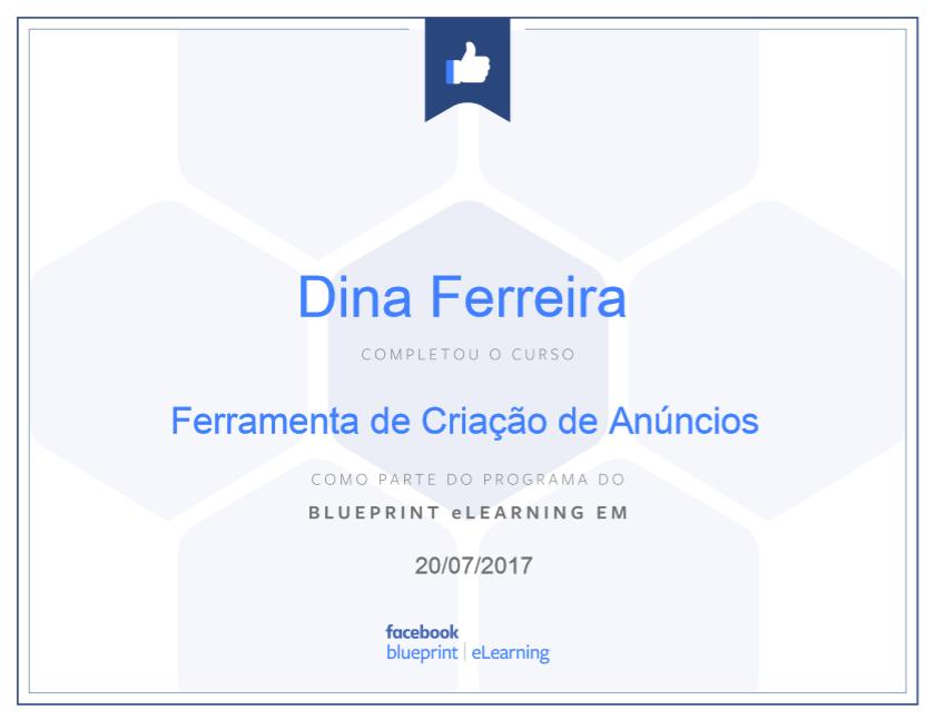 Certificado Ferramenta de Criação de Anúncios Facebook