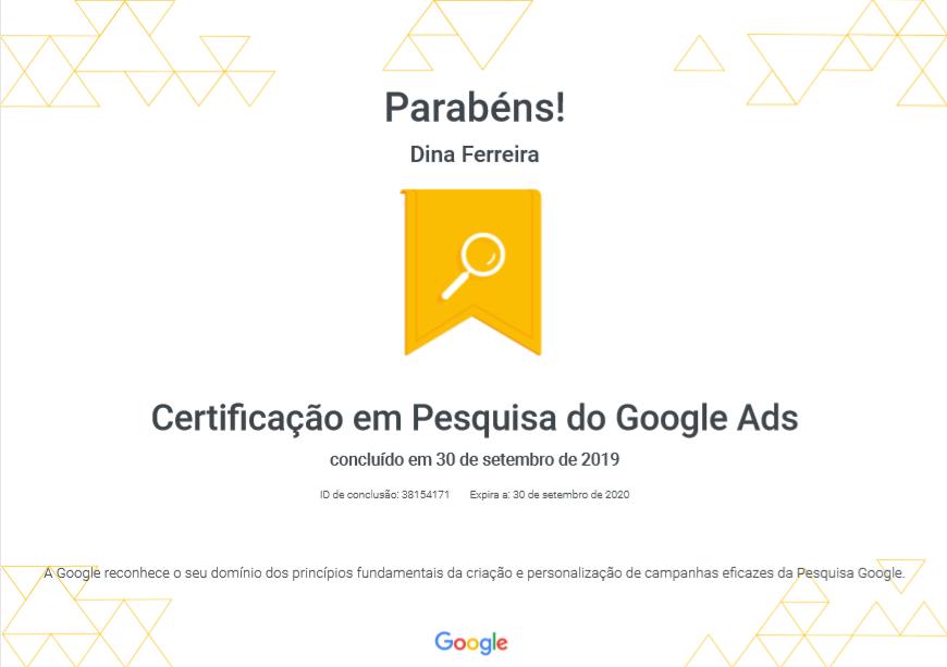 Certificado em Pesquisa do Google Ads 2019