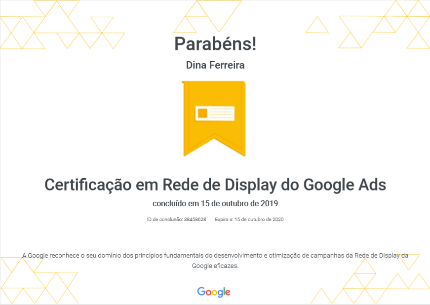 Certificado em Rede de Display do Google Ads