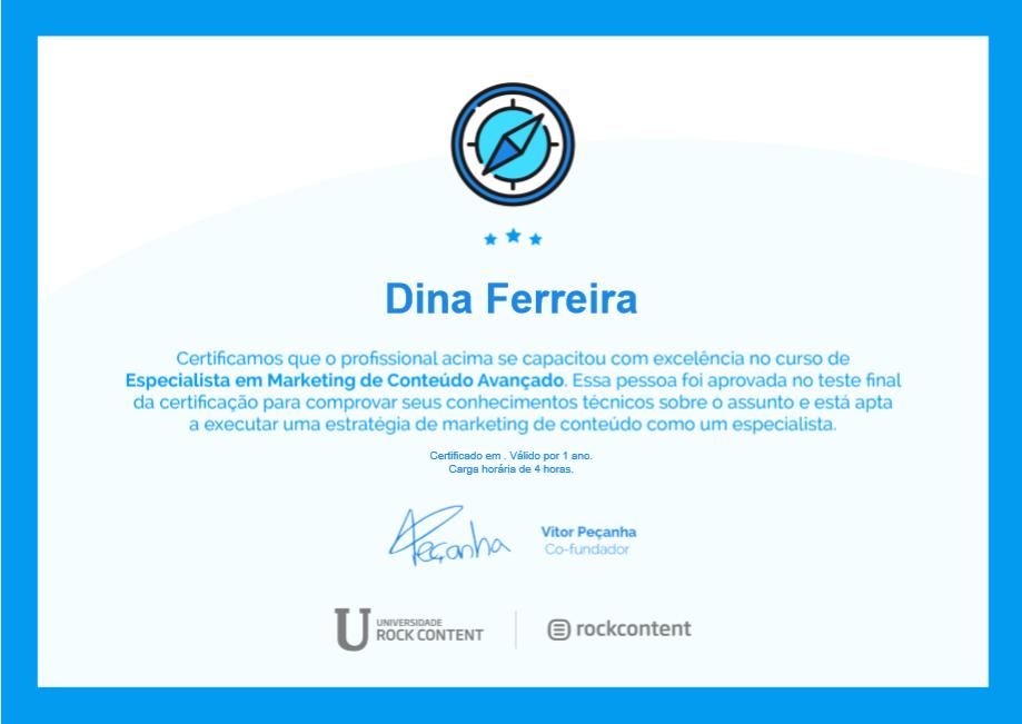 Certificado de especialista de marketing de conteúdo avançado