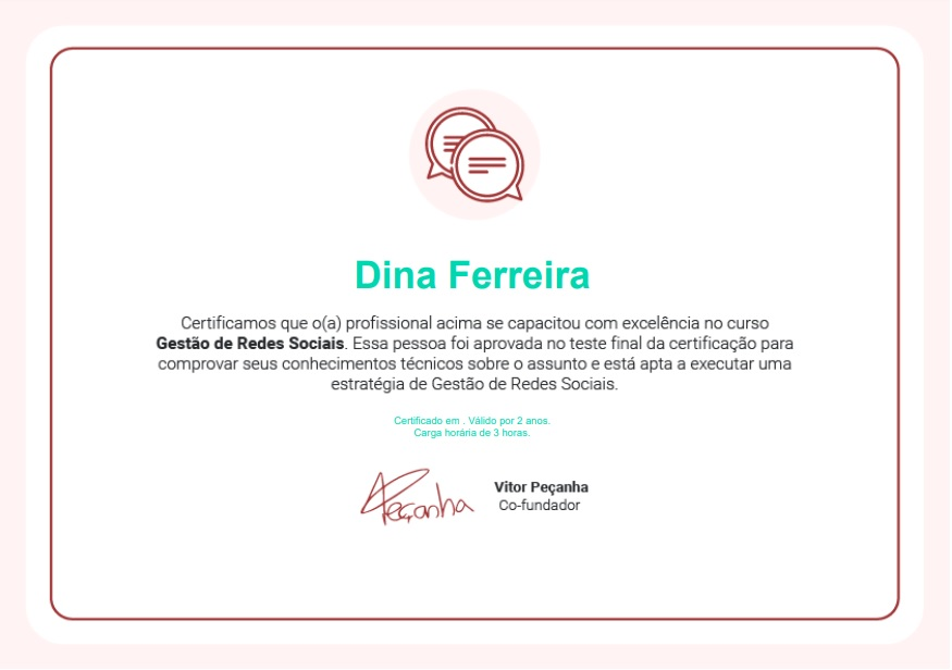 Certificado de Gestão de Redes Sociais