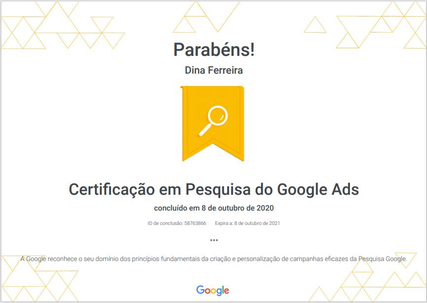 Certificação em pesquisa do google ads