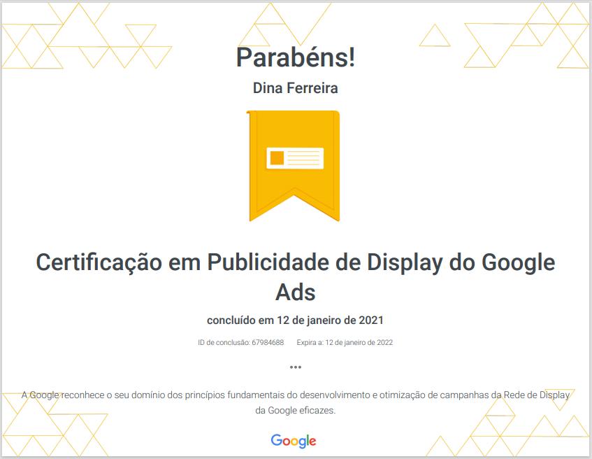 Certificação em Publicidade de Display do Google Ads