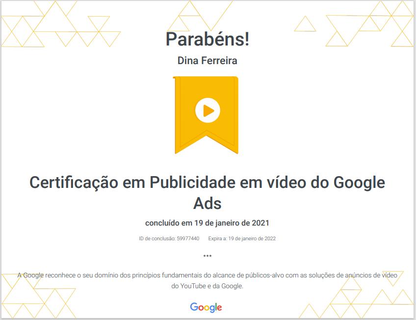 Certificação em Publicidade em vídeo do Google Ads