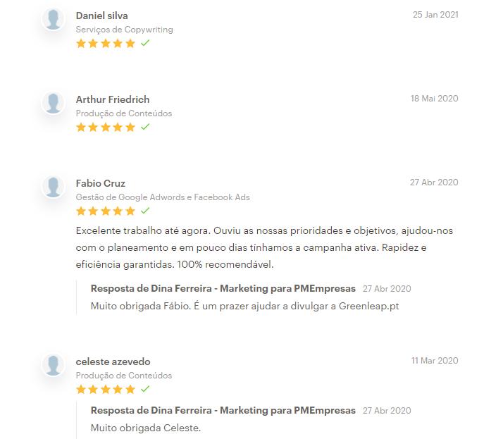 review, testemunhos de clientes