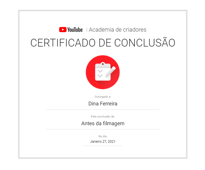 certificado de youtube: antes da filmagem