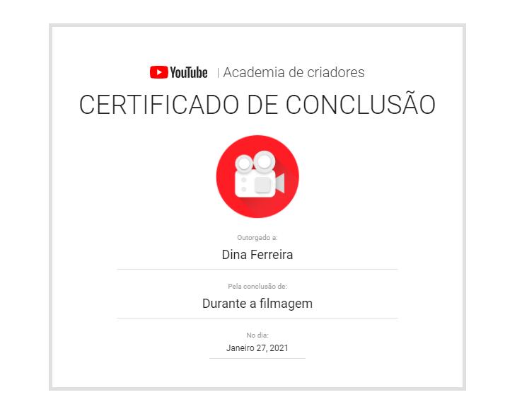 certificado de youtube: durante a filmagem