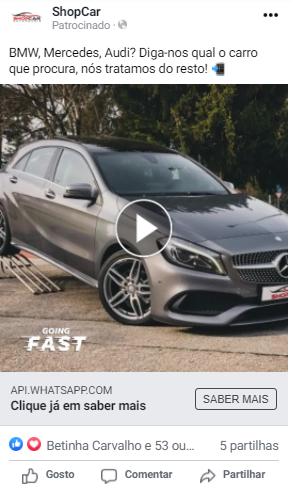 facebook ads de stand automóvel